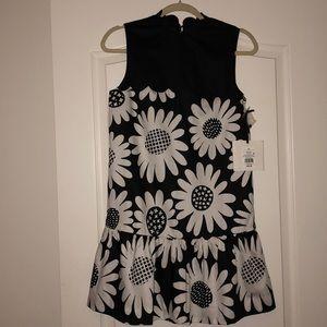 Victoria Beckham White and Black Sunflower Dress